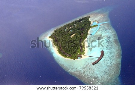 see from airtaxi in beautiful maldives, filitheyo - stock photo