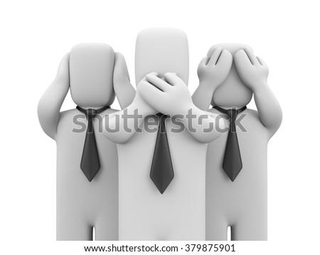 See no evil, hear no evil, speak no evil. - stock photo