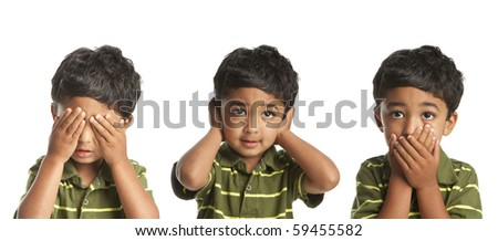 See No Evil, Hear No Evil, Speak No Evil - stock photo