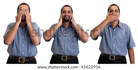 See no evil, hear no evil, speak no evil - Asian executive, isolated on white