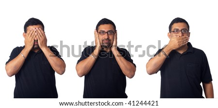 See no evil, hear no evil, speak no evil - Asian man, isolated in white