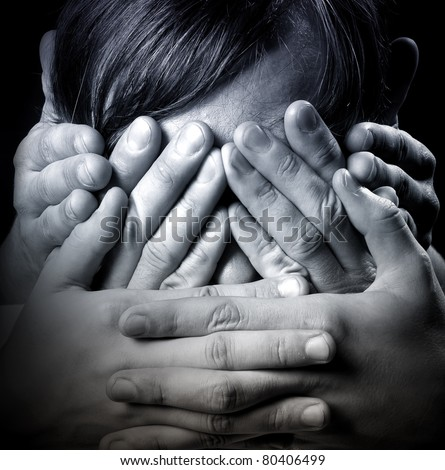 See no Evil, Hear no Evil, Speak no Evil, close-up portrait - stock photo
