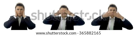 See no Evil, Hear no Evil, Speak no Evil concept with a young businessman. Isolated on white background with copy space. - stock photo
