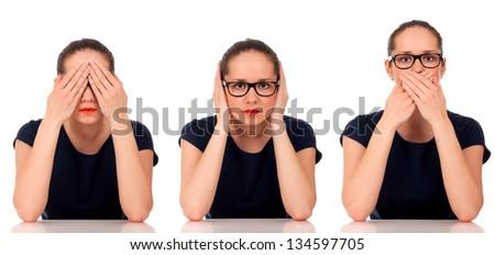 See No Evil, Hear No Evil, Speak No Evil poses. - stock photo