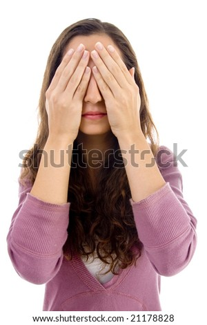 see no evil on an isolated background - stock photo
