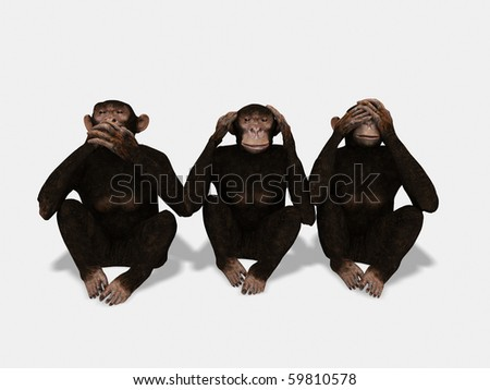 See nothing, hear nothing, say nothing - stock photo