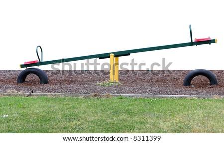 See saw on woodbark - stock photo