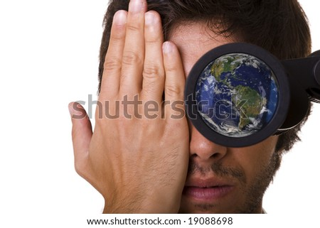 see the future of our blue earth (selective focus) The blue earth is a not copyrighted image from NASA, please see the link http://www.nasa.gov/multimedia/guidelines/index.html - stock photo