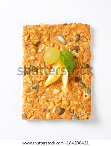 seed crispy bread with grape and apple - stock photo