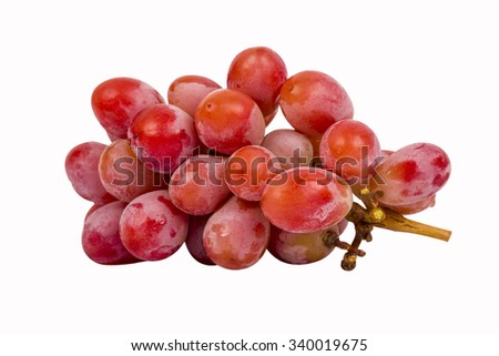 seedless red grape on isolated background - stock photo