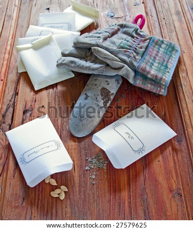 Seeds in packets with garden trowel and gloves - stock photo