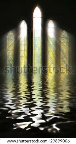 Seeing the light, nature and belief concept as shafts of sunshine stream through stained glass window with reflection on Water - stock photo