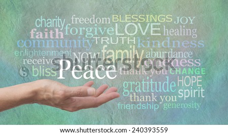 Seeking World Peace - female hand outstretched palm up with the word 'Peace' above surrounded by a word cloud of relevant words on a jade blue colored stone effect background - stock photo