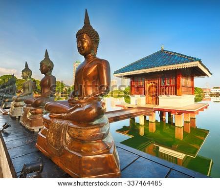 Seema Malaka temple on Beira Lake. Colombo, Sri Lanka - stock photo