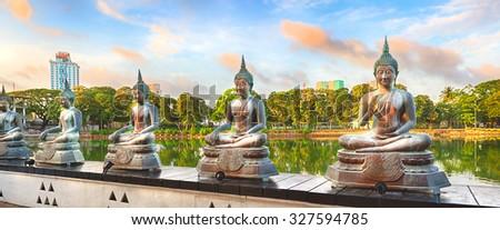 Seema Malaka temple on Beira Lake. Colombo, Sri Lanka. Panorama - stock photo