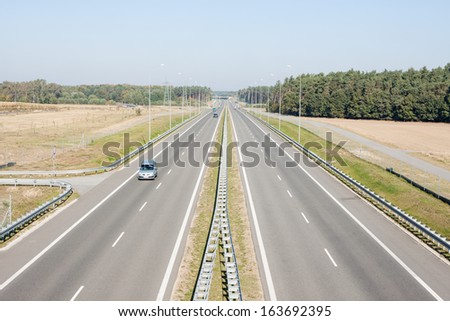 Seen from the highway overpass - stock photo