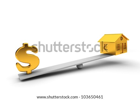 seesaw golden house and dollar sign in the balance. 3d render - stock photo