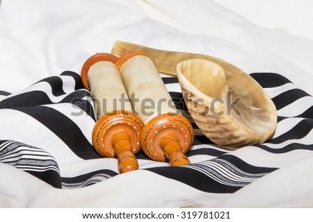 Sefer Torah (Bible), With shofar - stock photo