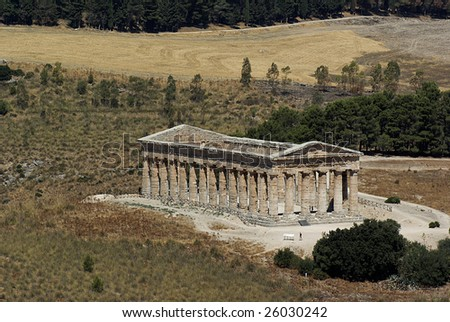 Segesta greek temple in Sicily, Italy. UNESCO world heritage site - stock photo
