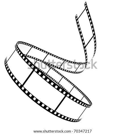 Segment blank film rolled up on a white background - stock photo