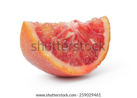 segment of ripe blood red orange isolated - stock photo