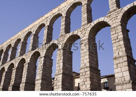 Segovia aqueduct,Spain - stock photo