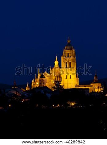 Segovia at night, Castile and Leon, Spain - stock photo