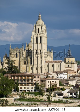 Segovia Cathedral Bathed in Evening Sunlight