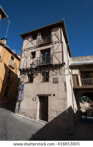 SEGOVIA - MAY 16, 2015: Traditional architecture in the historic centre of Segovia, Spain on May 16, 2015 - stock photo