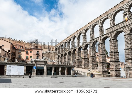 SEGOVIA, SPAIN - APR 5, 2014: Roman Aqueduct of Segovia, Spain. It is the UNESCO World Heritage - stock photo
