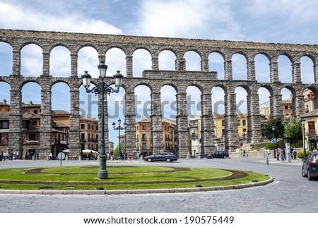 SEGOVIA, SPAIN - APR 16, 2014: Roman Aqueduct of Segovia, Spain. It is the UNESCO World Heritage  - stock photo