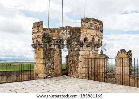 SEGOVIA, SPAIN - APR 5, 2014: Tower of the Alcazar of Segovia (Segovia Castle), a stone fortification, Segovia, Spain. It's one of the inspirations for Walt Disney's Cinderella Castle. - stock photo