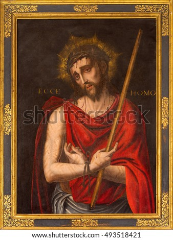 SEGOVIA, SPAIN, APRIL - 14, 2016: The painting of Jesus Christ in the bond and scarlet coat in church Monasterio de San Antonio el Real by unknown artist of 16. cent.