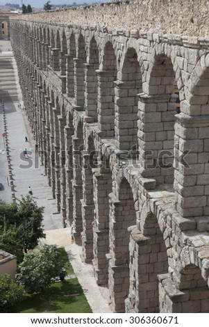 SEGOVIA/SPAIN-AUGUST 12: View of the Roman Aqueduct  as in august 12th 2015 in Segovia, Castilla y León, Spain. - stock photo