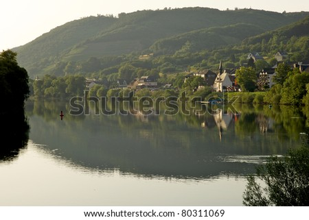 Sehl at dawn- Mosel, Germany - stock photo