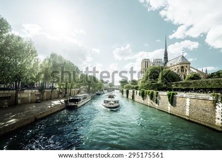 Seine and Notre Dame de Paris, Paris, France - stock photo