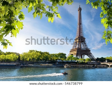 Seine in Paris with Eiffel Tower in sunrise time
