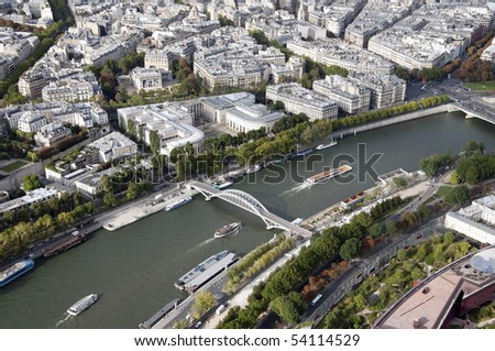 Seine is a tourist attraction, with excursion boats offering sightseeing tours. - stock photo