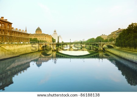 Seine river and Bridge in Paris, France - stock photo