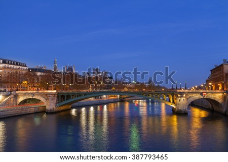 Seine river at night in Paris, France.