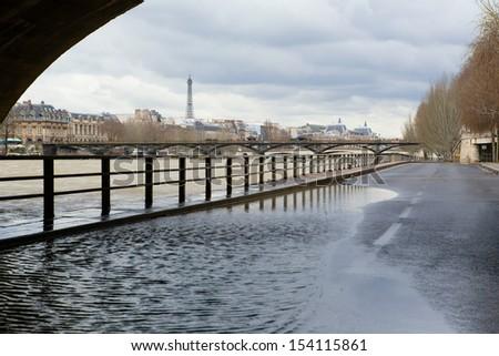 Seine river flood in Paris in February - stock photo