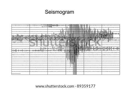 Seismic measurement on white paper - stock photo