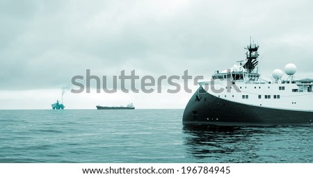 Seismic Survey, Oil Research and Exploration in the North Sea - stock photo