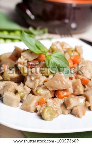 Seitan soup - stock photo
