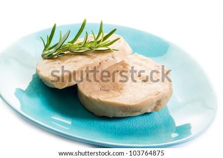 seitan steack over blue dish - stock photo