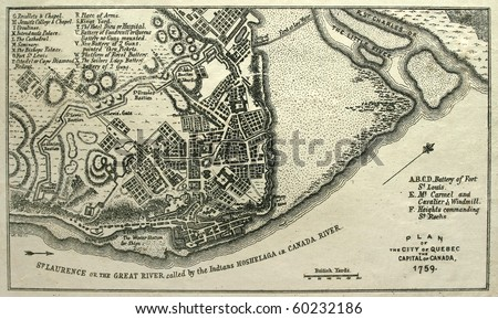 Seize map of French Canada's Quebec City, just before Canada fell to England in 1759. - stock photo
