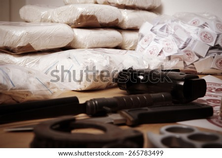 Seized contraband - stock photo