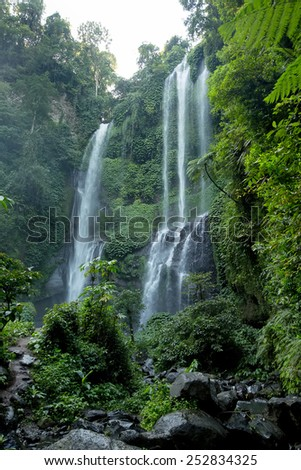 Sekumpul Waterfalls in Bali, Indonesia - stock photo