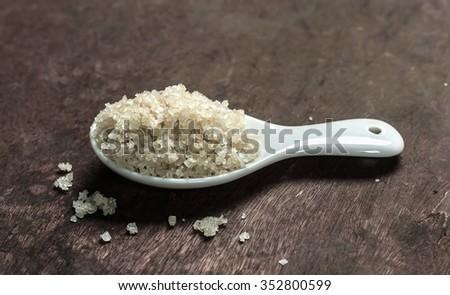 Sel de guerande (gray sea salt) in a spoon - stock photo