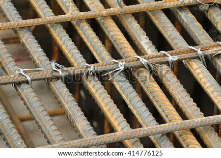 SELANGOR, MALAYSIA -APRIL 30, 2016: Hot rolled deformed steel bars or steel reinforcement bar tied together before cast in the concrete. Its increase the concrete strength.  - stock photo